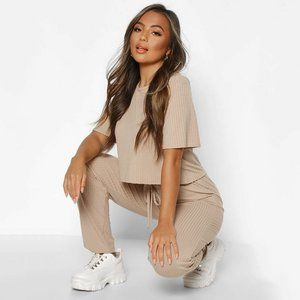 Taupe Ribbed Knit Loungewear Top and Jogger Set